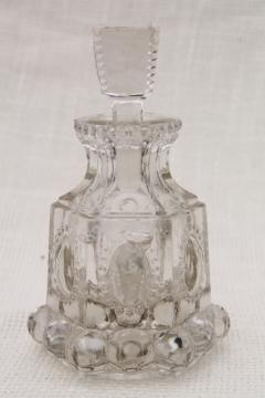 antique EAPG jewel pattern pressed glass cologne vanity bottle w/ glass stopper