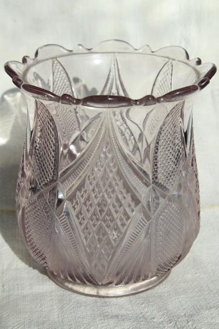 antique EAPG pattern glass spooner vase or biscuit jar, sun purple lavender glass