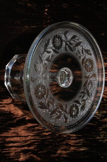 Antique Eapg Pressed Glass Cake Stand Stippled Dahlia