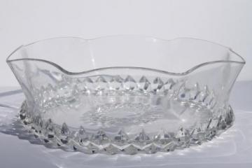 antique EAPG pressed glass serving bowl, 1890s Bryce Amazon sawtooth pattern