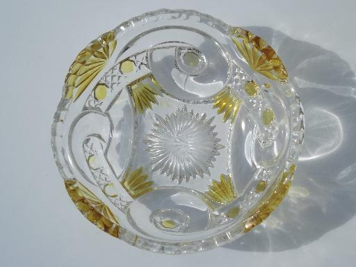 antique EAPG pressed pattern glass fruit bowls, canary yellow stain