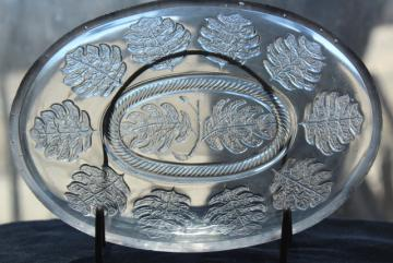antique EAPG pressed pattern glass jelly dish, oval cover bowl w/ oak leaf leaves