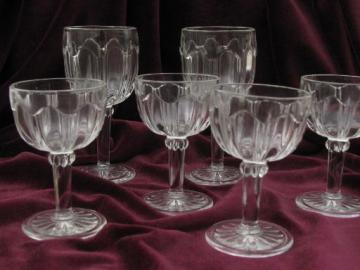 antique EAPG wine & water goblets, colonial pattern glasses, vintage US Glass