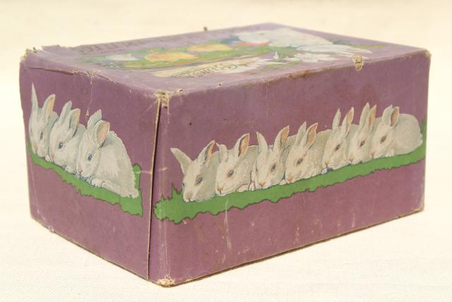 antique Easter egg candy container, early 1900s vintage chocolate box holiday graphics
