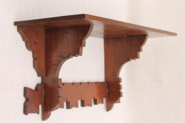 antique Eastlake style carved walnut wood fretwork shelf, mantel clock wall bracket