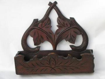 antique Eastlake vintage carved wood wall bracket pocket, adirondack style