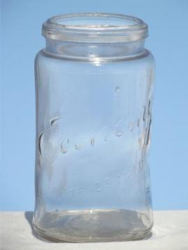 antique Economy embossed glass mason jar, early 1900s vintage canning jar