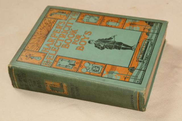 antique Electricity Book for Boys handy electrical experiments projects steampunk inventor