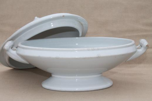 antique English Royal Arms white ironstone china serving dish / tureen, oval bowl w/ lid