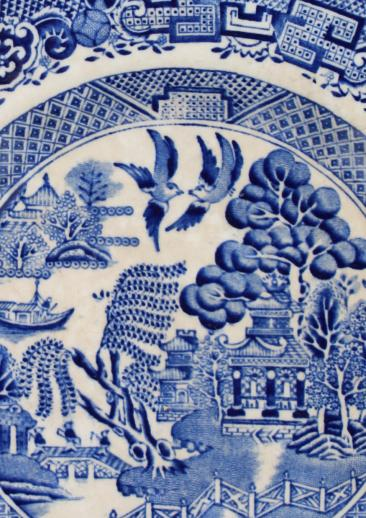 Antique English Staffordshire China Blue Willow Pattern Dinner Plates Set Of 8