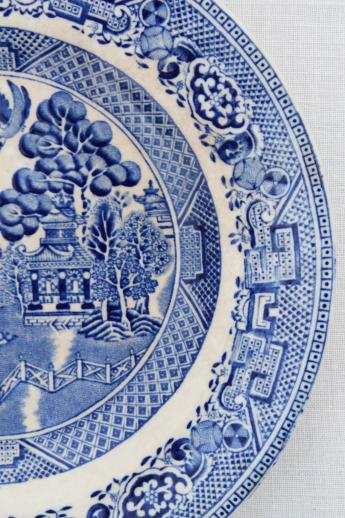 Antique English Staffordshire China Blue Willow Pattern