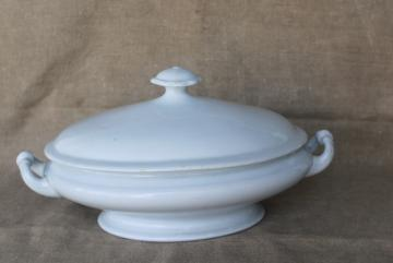 antique English heavy white ironstone china oval covered bowl tureen or serving dish