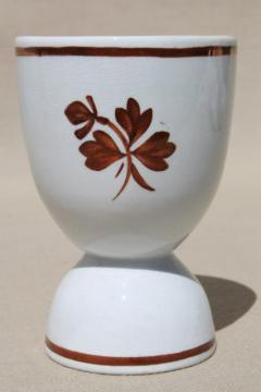 antique English ironstone china egg cup with tea leaf copper luster