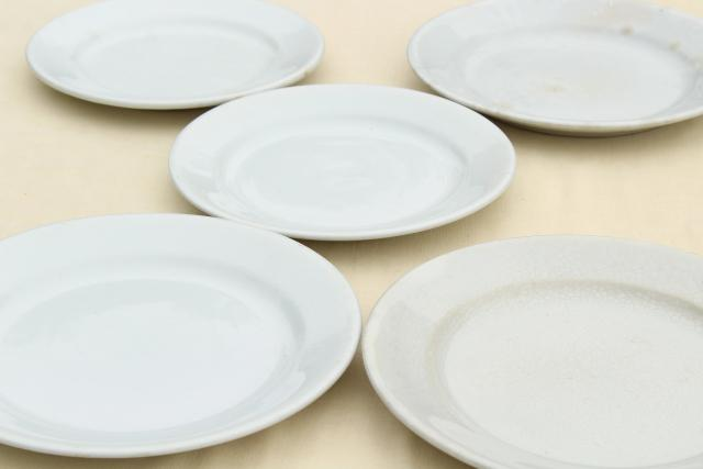 antique English ironstone china plates, plain simple rustic vintage white tableware