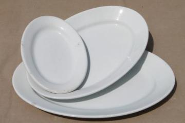 antique English ironstone china platter collection, large & small oval platters