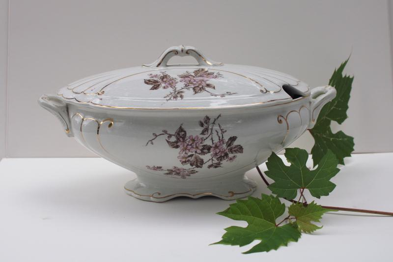 antique English ironstone china soup tureen, pink & brown transferware floral