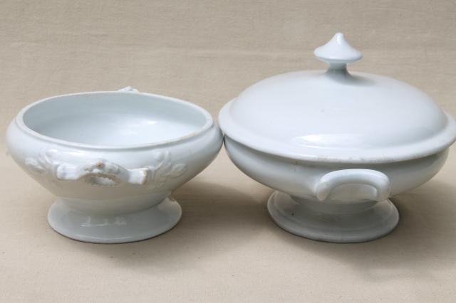 Antique English Ironstone Pure White China Tureens Oval