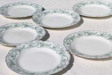 antique English transferware china plates, Johnson Brothers Beaufort green floral