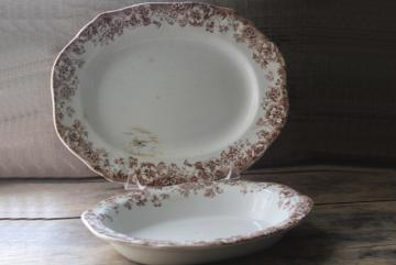 antique English transferware china platter oval bowl, brown transfer pansy pattern floral