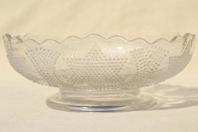 Antique Fenton Glass Bowl Beaded Stars Amp Swag Eapg Clear