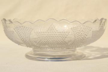 antique Fenton glass bowl, Beaded Stars & Swag EAPG clear pressed glass, star pattern