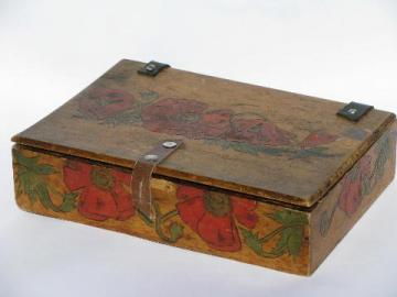 antique Flemish art tinted pyography box w/ red poppies, vintage lap desk