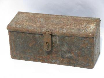 antique Fordson tractor or early auto toolbox, vintage Ford tool box
