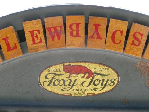 Antique foxy tin spelling wheel toy wood letter tiles vintage game