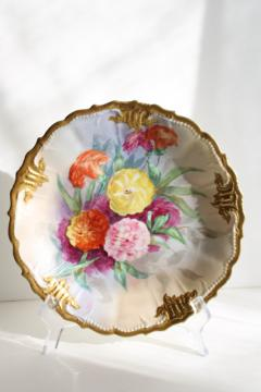 antique French Limoges china plate w/ embossed border, hand painted flowers
