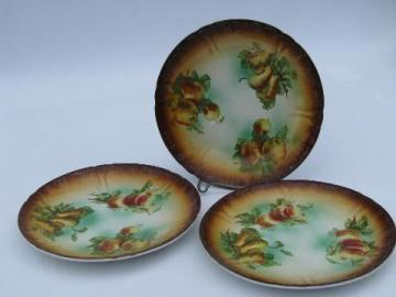 antique French china dessert or bread & butter plates w/ autumn fruit, France marks