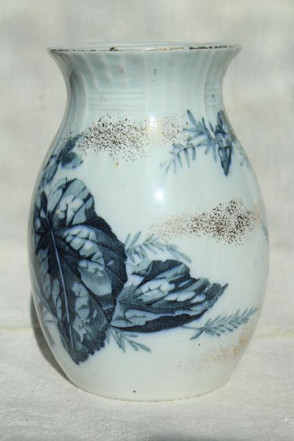 Antique French Faience Pottery Vase Blue And White