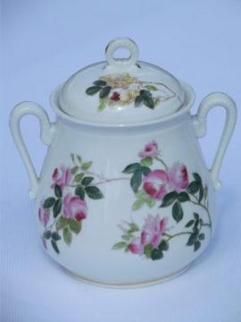 antique French painted porcelain sugar cube or biscuit jar, Depose France