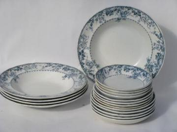 antique Furnivals England transferware blue and white china soup plates, bowls
