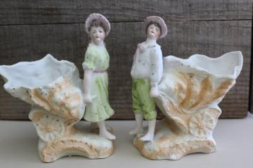 antique German bisque china figurines, art nouveau couple, boy & girl w/ sea shell carts