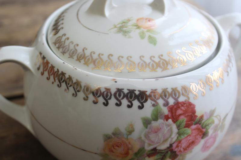 antique German china biscuit jar w/ roses, early 1900s Germany mark cookie crock