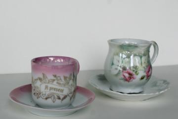 antique German china demitasse cups & saucers, A Present motto hand painted luster roses