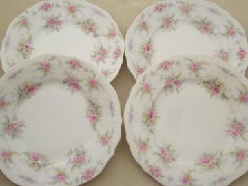 antique German china plates, vintage pink roses dessert plates set
