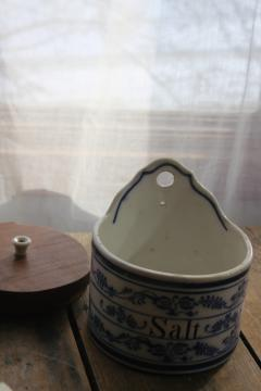 antique German flow blue china salt box, onion pattern wall hanging canister w/ wood lid