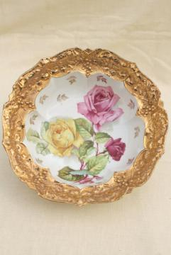 antique German gold encrusted porcelain bowl, early 1900s vintage floral china serving dish