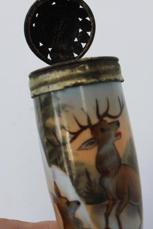 antique German hunting pipe hand painted china bowl Bavaria black forest stag deer