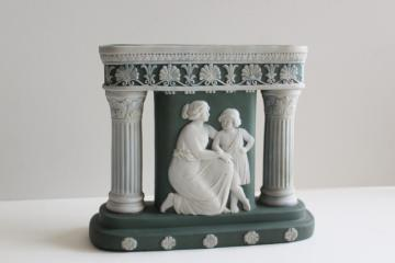 antique German jasperware three part vase Greek or Roman columns Schafer Vater
