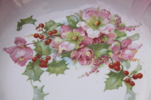 antique German painted china bowl w/ pink Christmas rose hellabore flowers & holly