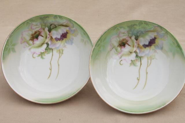 antique German porcelain bowls white poppies hand painted art nouveau floral & antique German porcelain bowls white poppies hand painted art ...