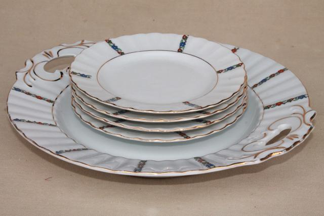 antique German porcelain dessert set, china plates w/ serving tray, Germany mark