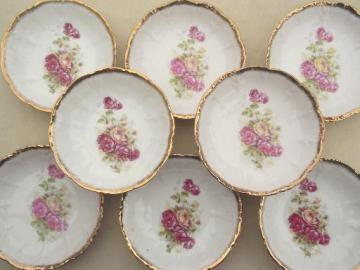antique German porcelain fruit bowls, vintage roses pattern china Made in Germany