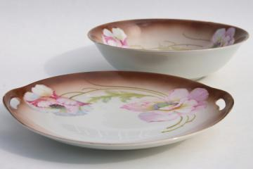 antique German porcelain tray handled plate & fruit bowl, hand painted pink poppies