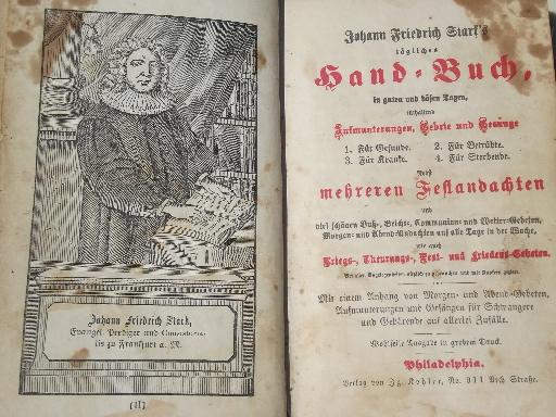 antique German religious books w/ beautiful old gold lettered bindings