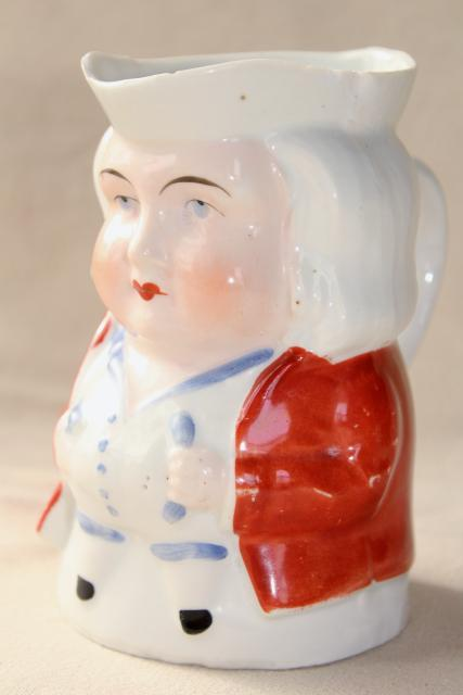 antique Germany china grumpy face Toby pitcher milk jug, early 1900s vintage German mark