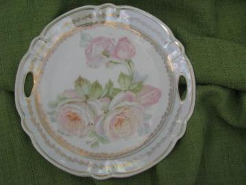 antique Germany china serving plate w/ handles, cabbage roses and luster