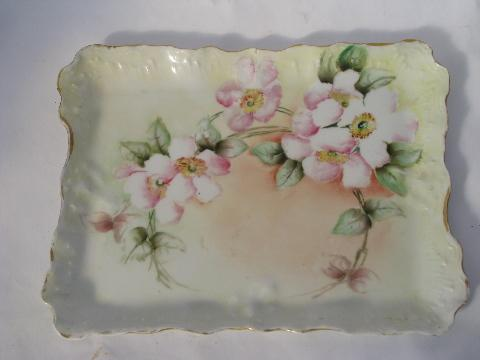 antique germany hand painted wild rose china vanity table